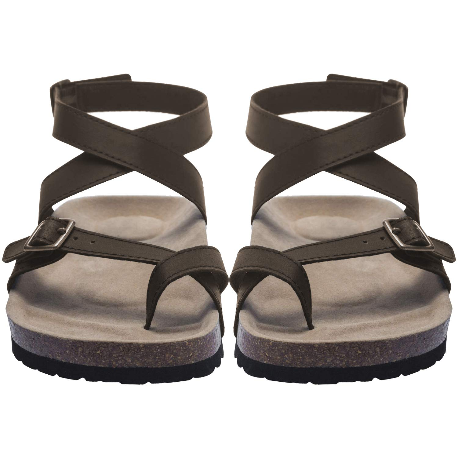 2e3371251 Amazon.com | Women Flat Sandals Buckle Strappy Sandals Cross Toe Ankle Strap  Cork Sole Leather Flat Mayari Sandals (US 8.0-9.8in(Foot Length)-Tag 40, ...