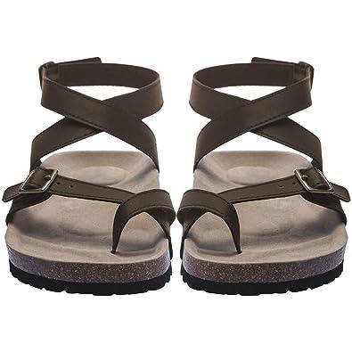 b3be0d31dca44 Women Flat Sandals Buckle Strappy Sandals Cross Toe Ankle Strap Cork Sole  Leather Flat Mayari Sandals