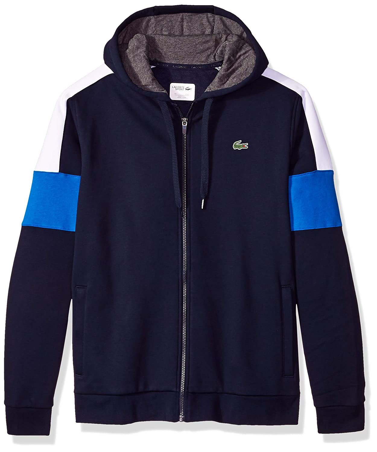 da35832c0da054 Amazon.com  Lacoste Men s Mixed Media Colorblock Hooded Sweatshirt  Clothing