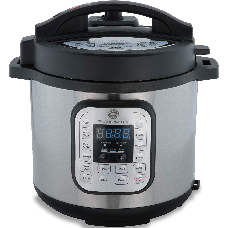 SilverOnyx 6 Qt 10-in-1 Multi-Use, Electric Pressure Cooker, Programmable, Slow Cooker, Rice Cooker, Best Chicken & Roast Cooker, Steamer, Sauté, Yogurt Maker & Warmer - Premium Stainless Steel Pot