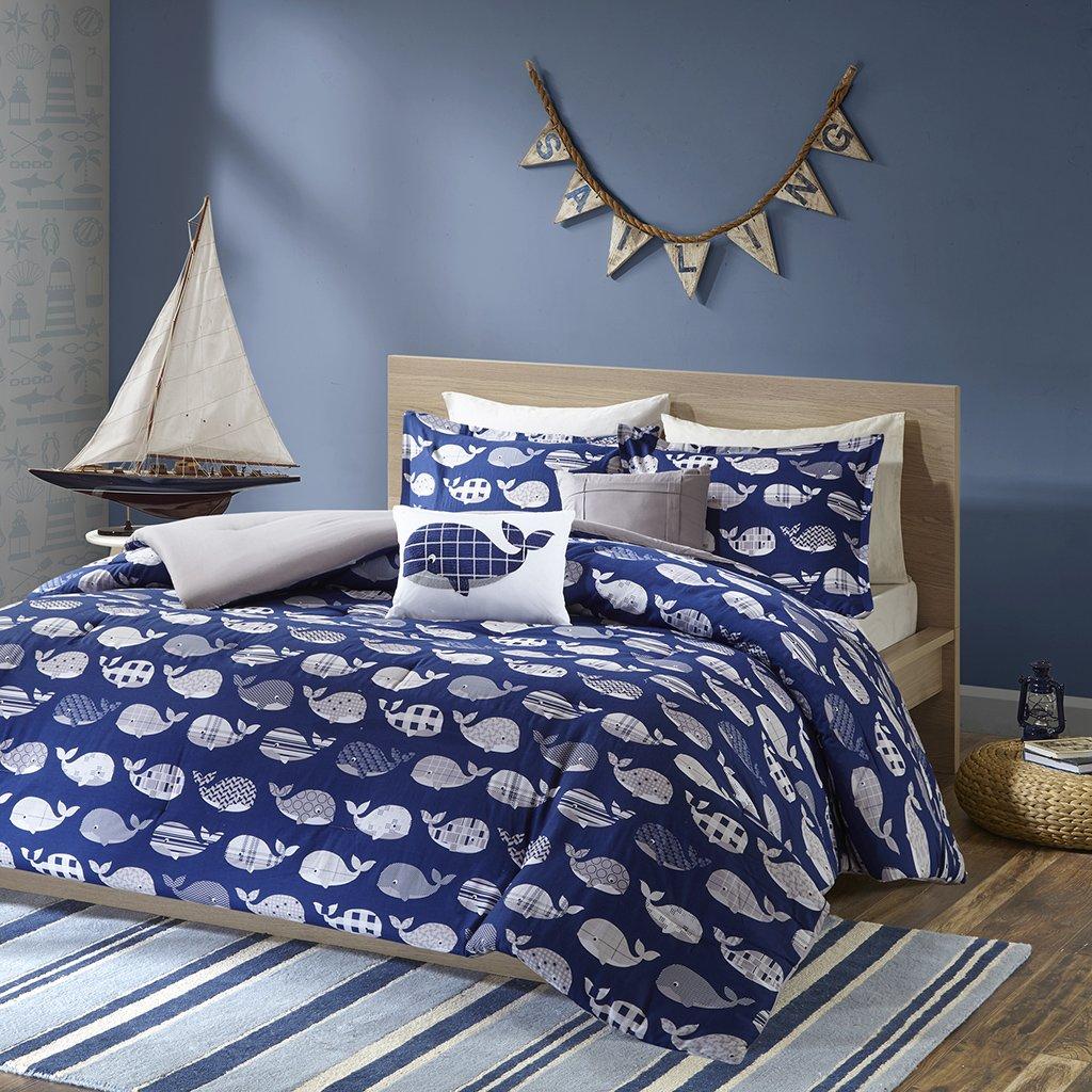 Urban Habitat Kids Moby Twin/Twin XL Kids Bedding Sets for Boys - Navy, Whale – 4 Pieces Boy Comforter Set – 100% Cotton Kid Childrens Bedroom Comforters UHK10-0025