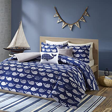 Urban Habitat Kids Moby Full/Queen Kids Bedding Sets for Boys - Navy, Whale  – 5 Pieces Boy Comforter Set – 100% Cotton Kid Childrens Bedroom ...