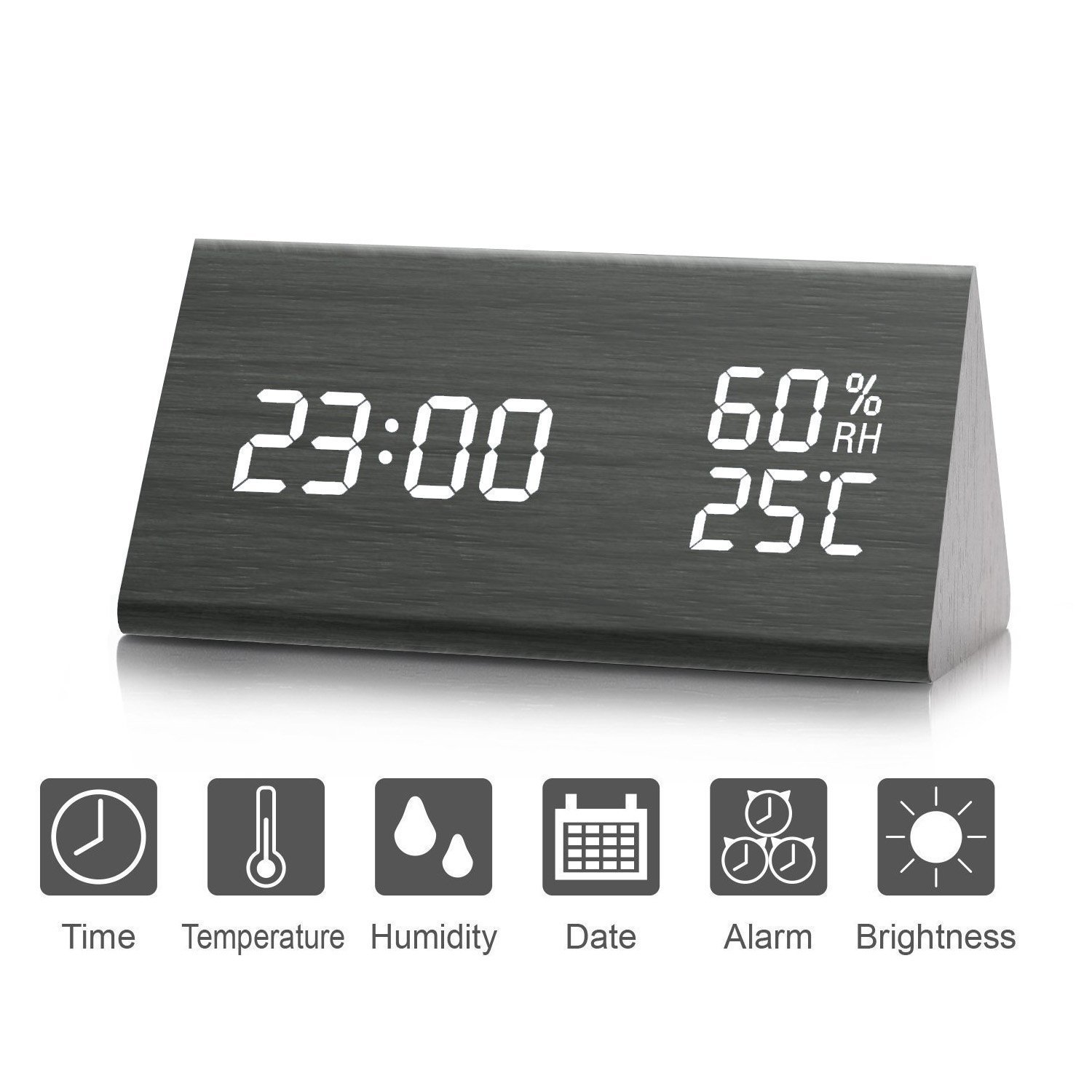 Digital Alarm Clock, 【2018 NEW】 Wooden Alarm Clock with Triple Alarms Setting, Dual Time (12/24) Mode, Date LED Display, 3 Levels Brightness, Temperature and Humidity Wood Grain Clock for Bedrooms