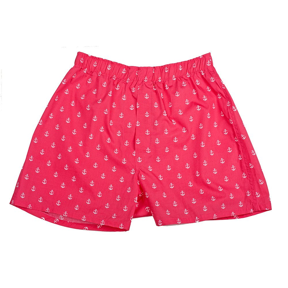 SummerTies Mens Anchor Boxers - Red, XX-Large