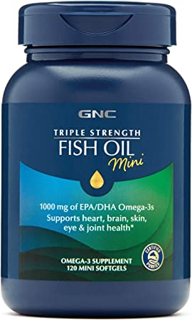 GNC Triple Strength Fish Oil Mini,120 Mini Softgels