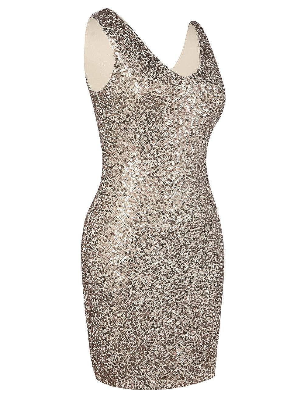 kayamiya Womens Sequin Cocktail Dress Sparkly V Neck Bodycon Party Dress Club Nightout