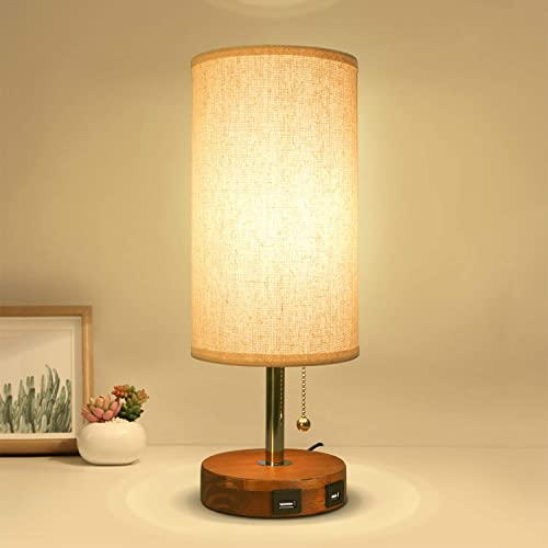 USB Table Desk Lamp, Bedside Nightstand Lamp with 2 USB Charging Port, Solid Wood Unique Lampshde,Convenient Pull Chain for Bedroom Living Room