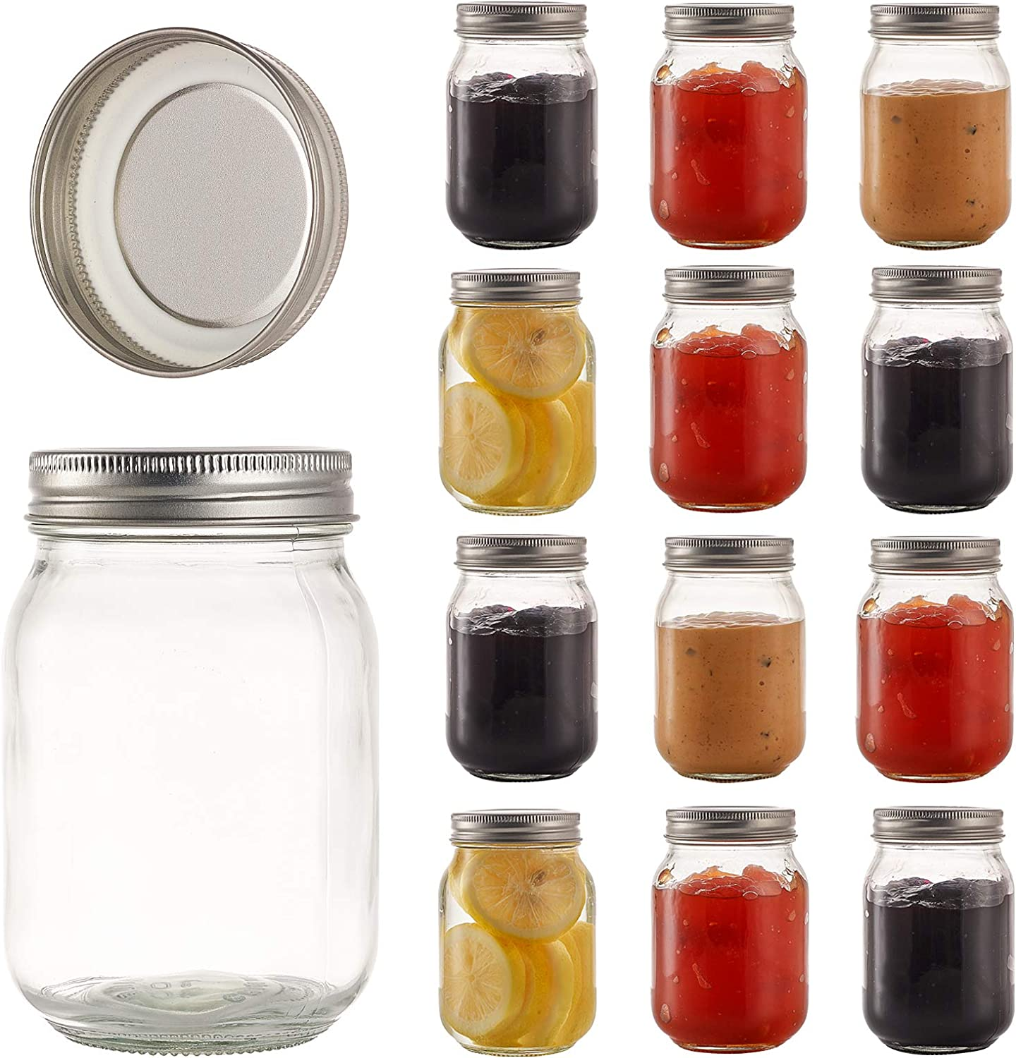 RESYOTE 16oz Mason Jars Airtight Container for Food Storage Ideal For Dry Food, Peanut Butter, Honey, Jam, DIY, Crafts with Silver Lids Airtight Metal Caps, Set of 12