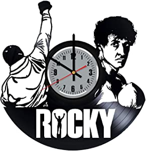 Rocky Balboa Vinyl Records Wall Clock - Sports Drama Film Wall Art Room Decor Handmade Decoration Birthday Christmas Vintage Modern Style (Grey&Numbers)