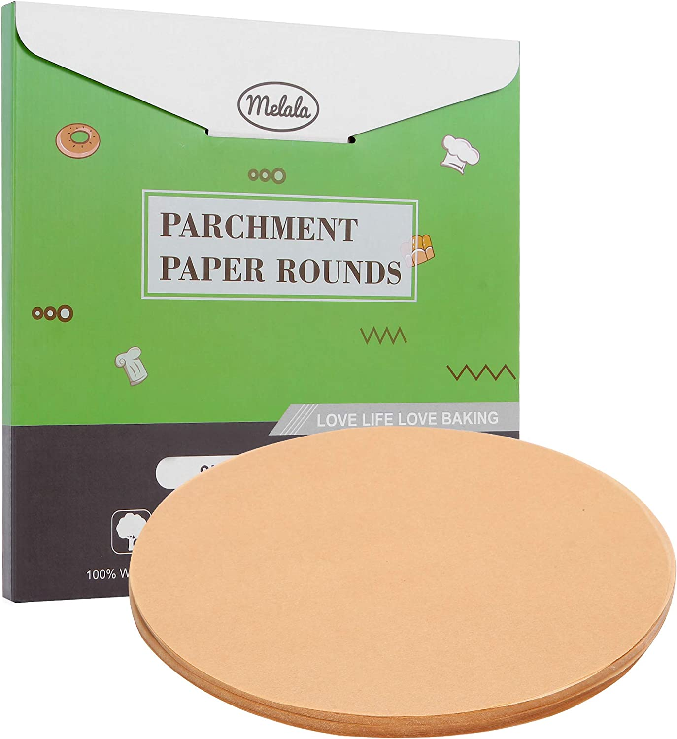 Melala 200Pcs Parchment Paper Rounds for Baking, 9 Inch Unbleached Non-Stick Precut Parchment Paper Liners for Air Fryer,Round Cake Pan,Springform Pan,Tortilla Press,Toaster Oven(Unbleached)