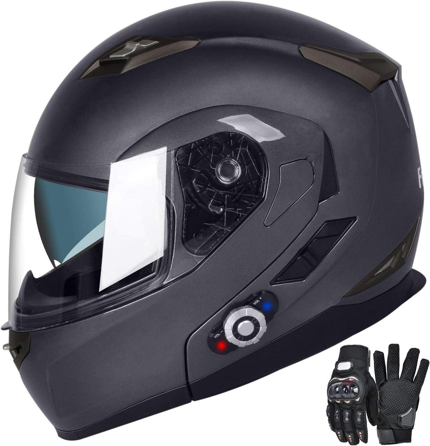 DOT Approved Helmet Motorcycle Bluetooth Helmets Built-in Mp3 FM Radio Integrated Intercom Communication System Modular Flip up Dual Visors Full Face Helmets