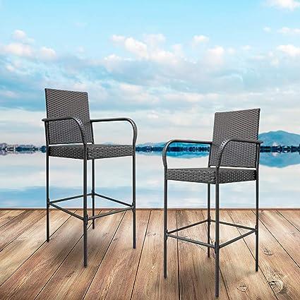 Astonishing Amazon Com Ssline Patio Chairs Set Of 2 Wicker Bar Stool Pdpeps Interior Chair Design Pdpepsorg