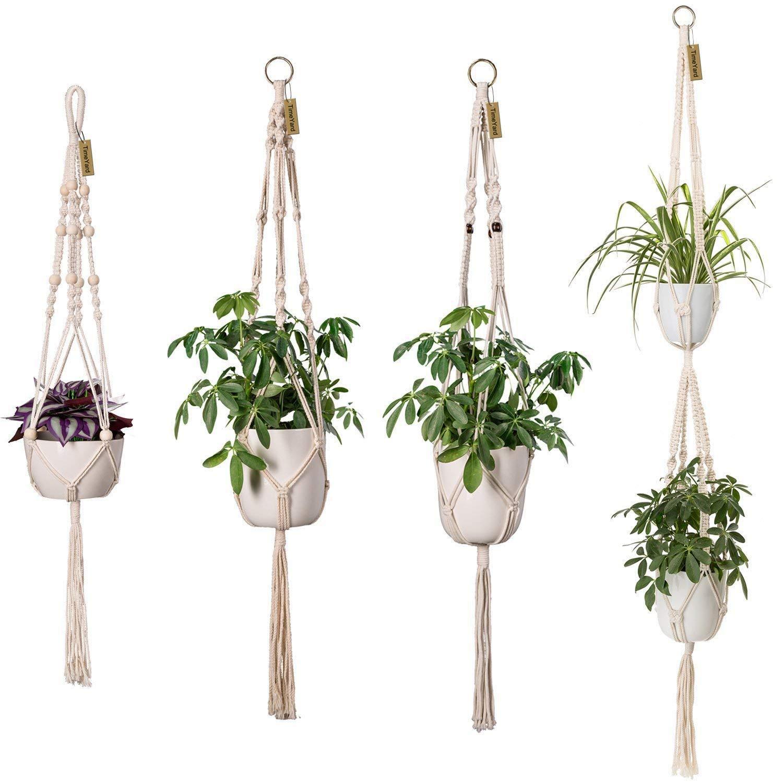 TimeYard Macrame Plant Hangers - 4 Pack, in Different Designs - Handmade Indoor Wall Hanging Planter Plant Holder - Modern Boho Home Decor