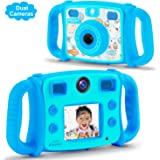 """Drograce Kids Camera Dual Selfie Camera 1080P HD Video Recorder Digital Action Camera Camcorder for Boys Girls Gifts 2.0 """" LCD Screen with 4X Digital Zoom and Funny Game(Blue)"""