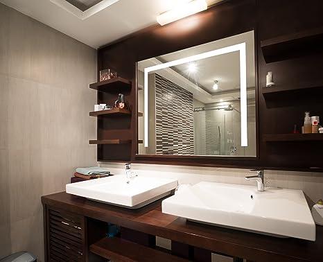 badezimmerspiegel mit beleuchtung led spiegel 65x50 cm badspiegel mit licht design spiegel für bad und gäste wc hinterleuchtet beleuchteter  badezimmerspiegel moderne technik zeitloses design #15