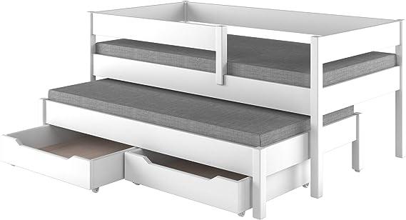 Childrens Beds Home Cama Nido para niños Colchón Juniors para niños Sin cajones y sin colchón Incluido (140x70, Blanco)