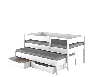 Cama nido para niños Colchones Junior para niños 140x70 160x80 180x80 180x90 200x90 ¡Sin cajones y sin colchón incluido! (180x90, blanco): Amazon.es: Hogar