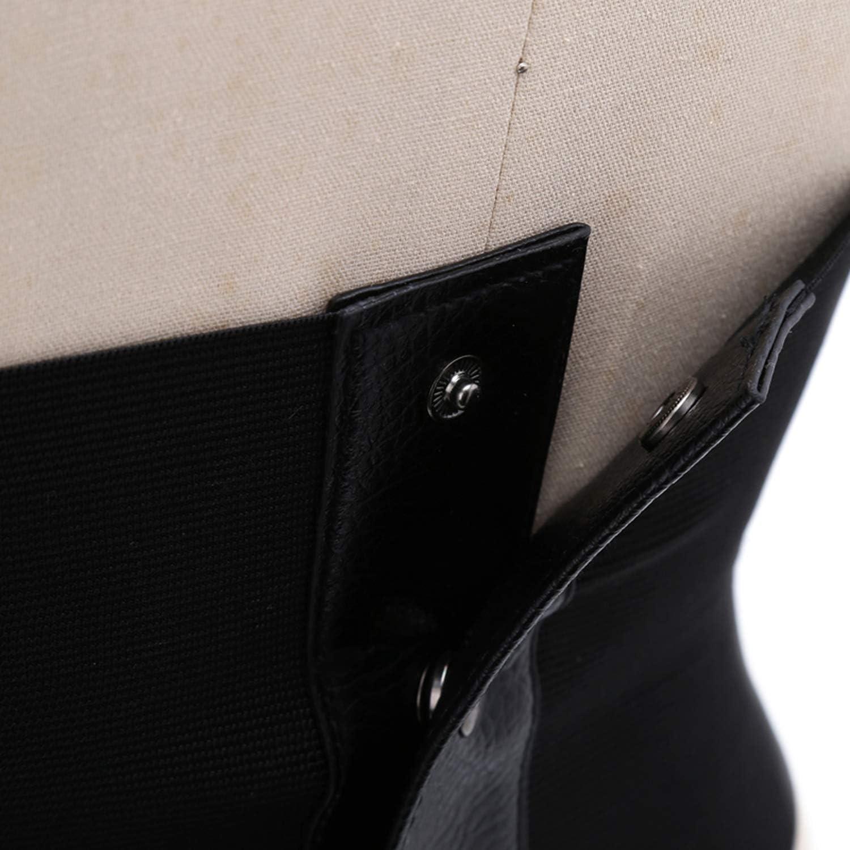 Corset large élastique en cuir synthétique noir Couleur