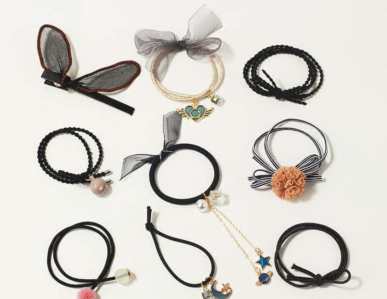 9PC//Set Women Elastic Rope Rubber Hairband Hair Ties Ponytail Holder Head Band