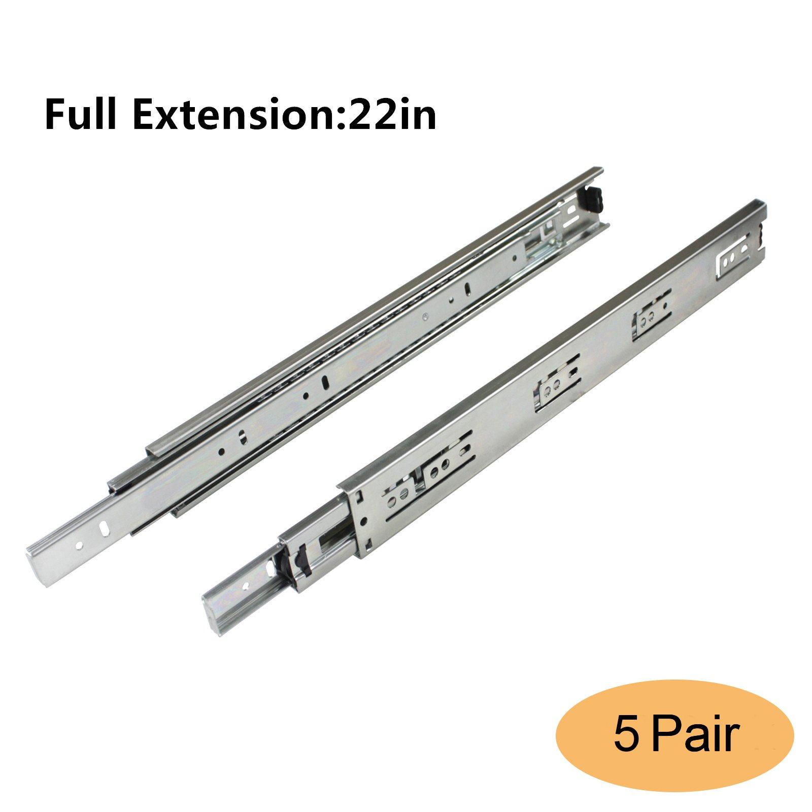Gobrico Drawer Slides Heavy Duty Full Extension 22in Ball Bearing 3Folds Side Mount Furniture Glides Runners Hardware 5Pair
