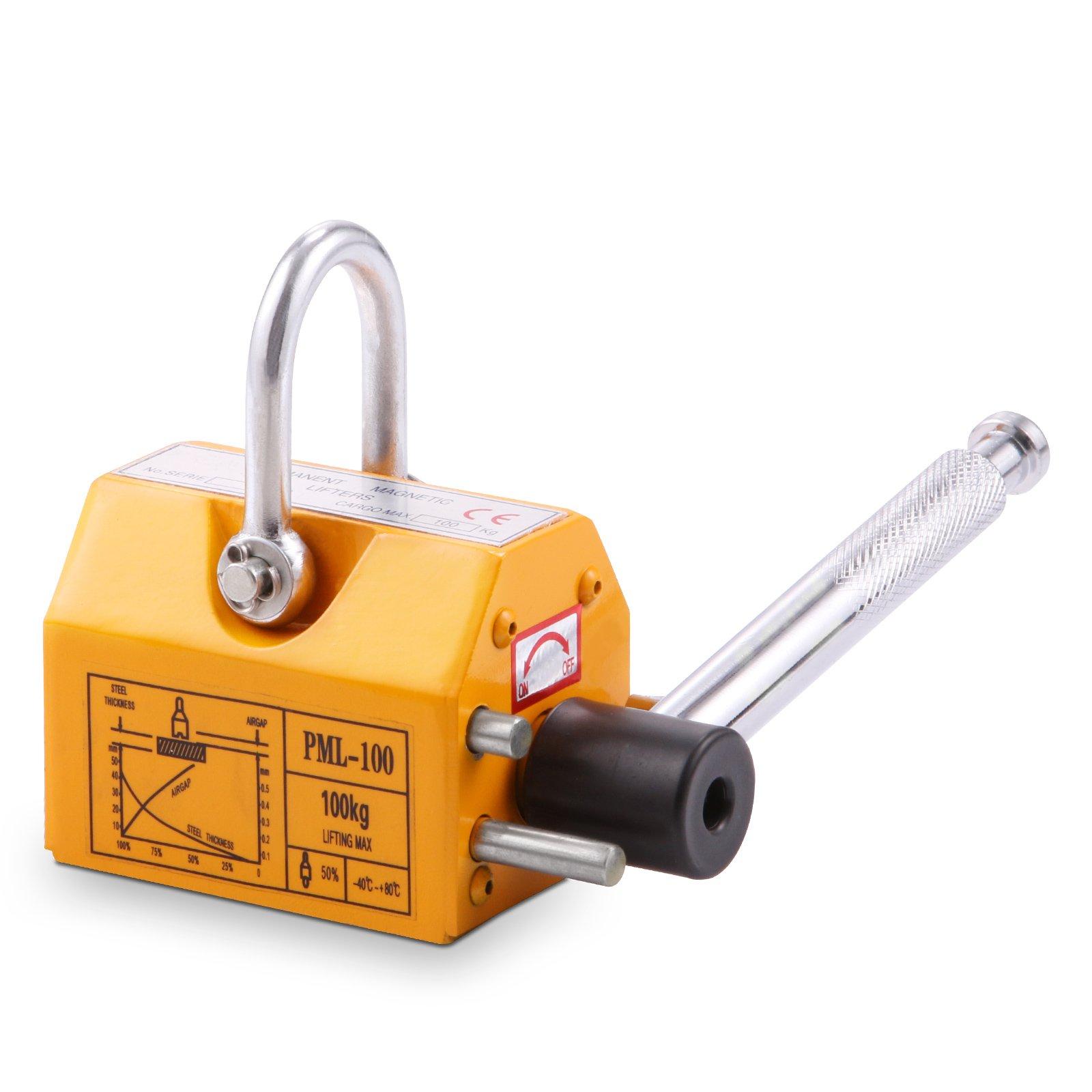 VEVOR Steel Magnetic Lifter 220 LB Metal Lifting Magnet 100 KG Neodymium Magnetic Lift Hoist Shop Crane(100KG)