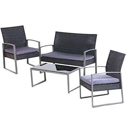 Incredible Grand Patio 4 Pc Outdoor Wicker Furniture Set Modern Outdoor Garden Rattan Loveseat Sofa Cushioned Pdpeps Interior Chair Design Pdpepsorg