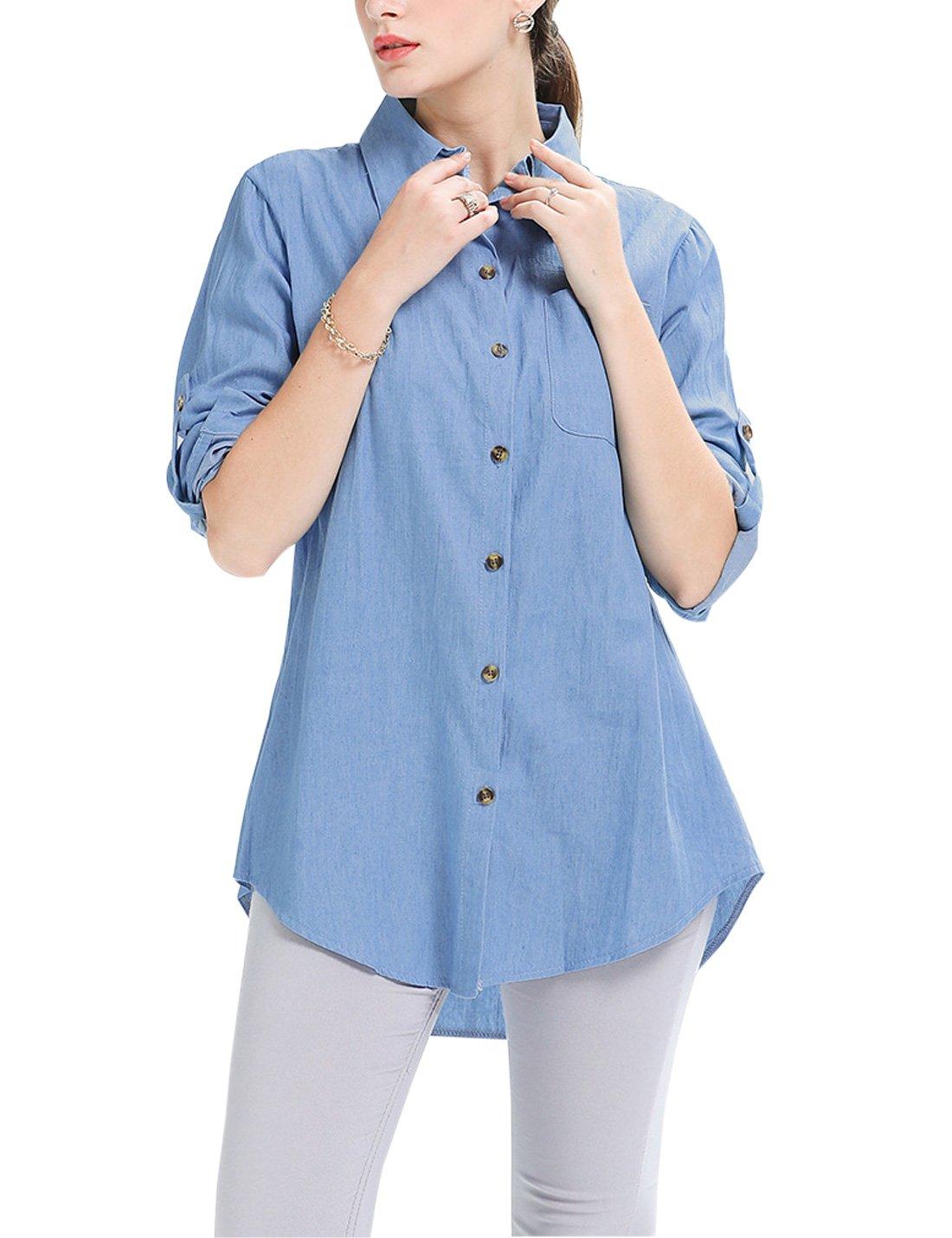 af2f6b62555 Jenkoon Women s Button Down Long Roll up Sleeves Shirts Jean Denim ...
