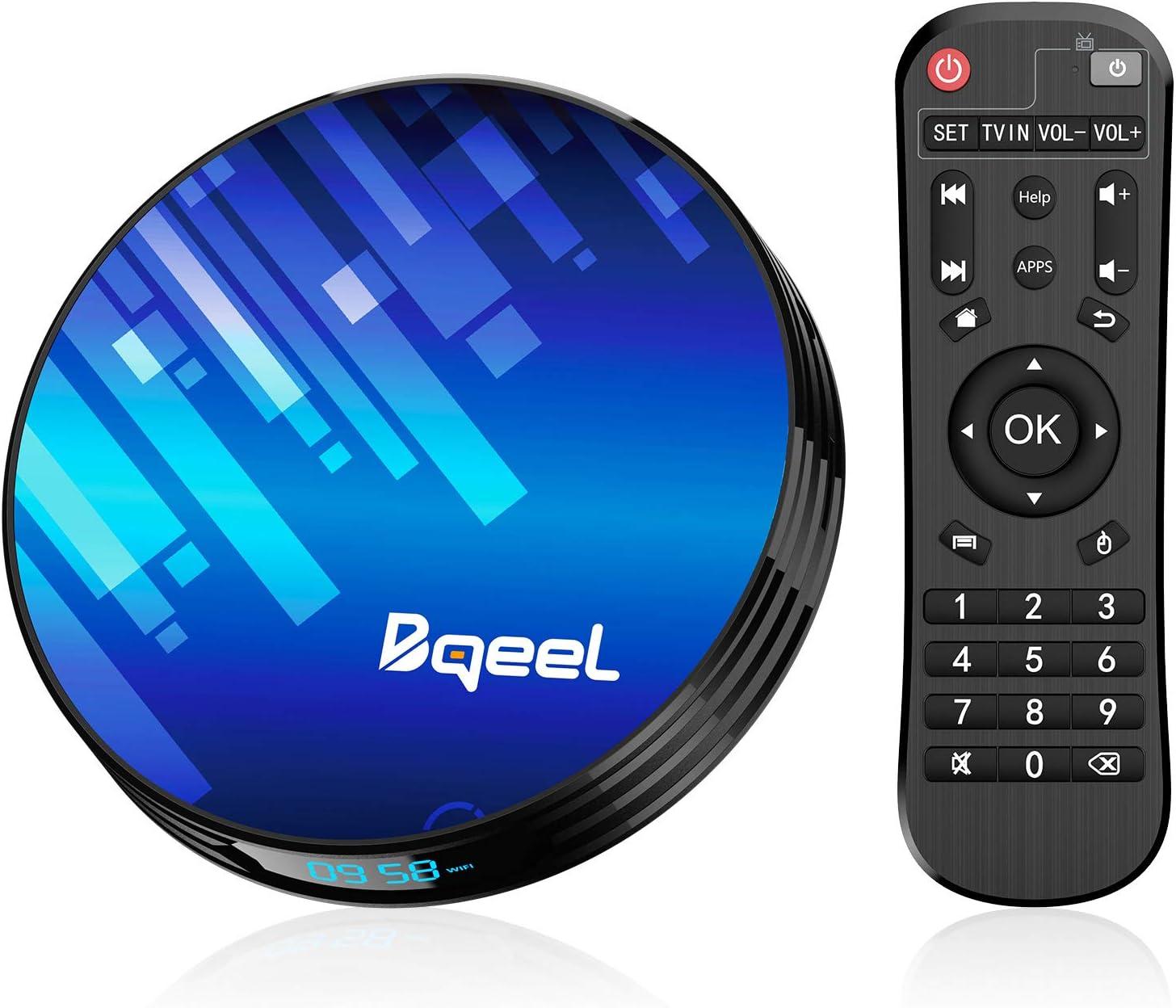 Última Android TV Box - Bqeel Android TV Box 9.0 【4GB+64GB】 Amlogic S905X3 Quad Core Arm Cortex A53 con Dual-WiFi 2.4GHz/5.0GHz, LAN 1000M,BT 4.0, 8K*4K UHD H.265, USB 3.0 Smart TV Box