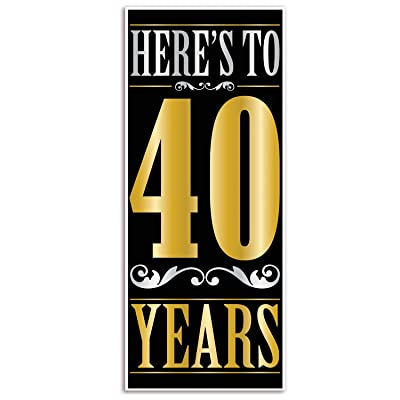 "Beistle Here's to 40"" Years Door Cover: Toys & Games"