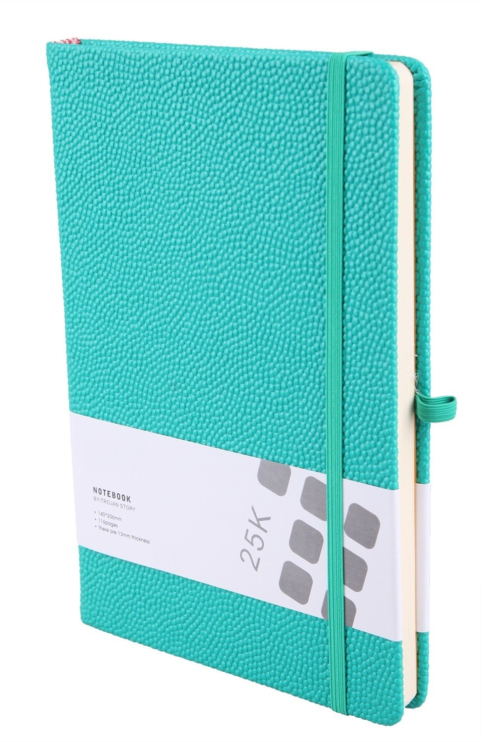 Cute Hardcover Journal Notebook Medium PU Leather Ruled Diary to Write in for Girl Women Men Gift, Elastic Closure, Pen Holder, Page Dividers, 5.6 x 8.3 Inch Back to School Supplies (Emerald Green)