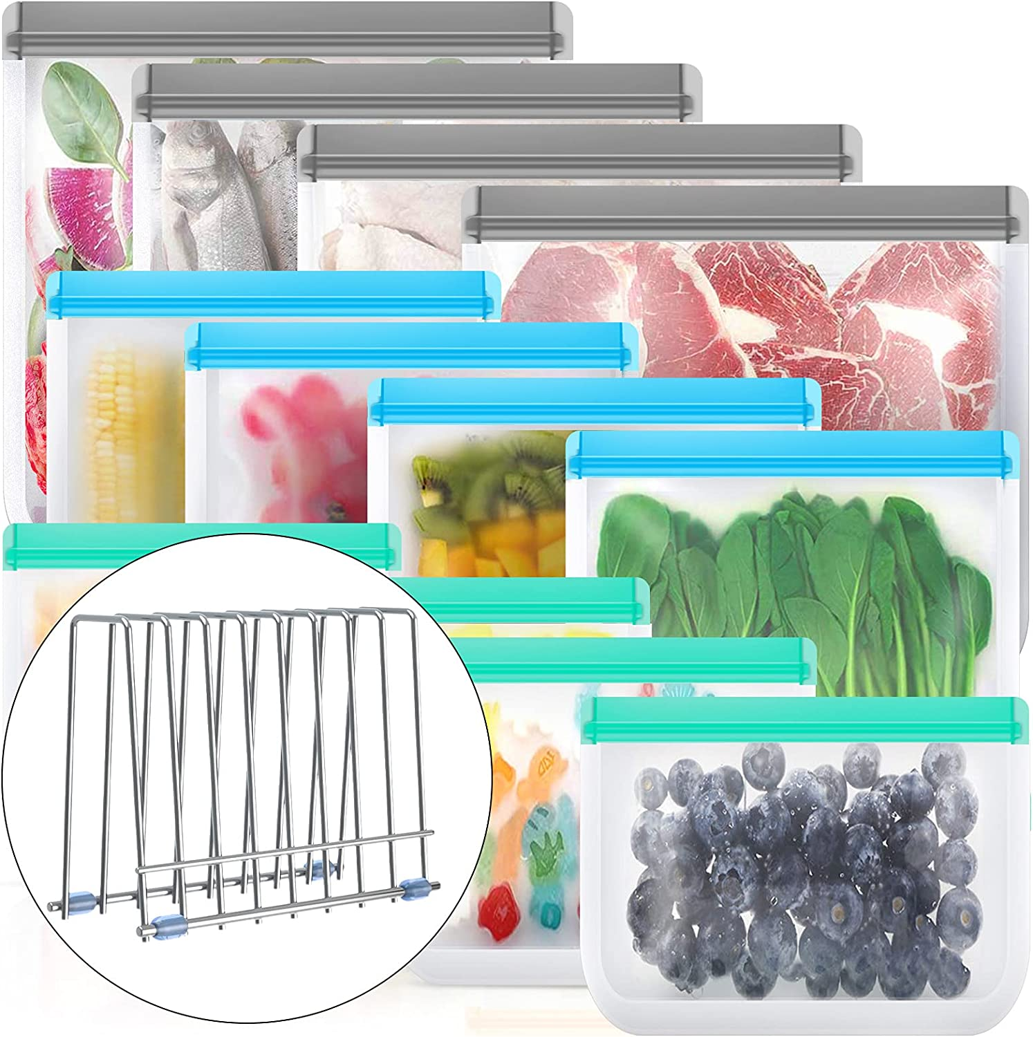 Reusable Food Storage Bags, BPA Free PEVA Reusable Freezer Bags,Reusable Gallon Bags, Reusable Sandwich Bags, Silicone Food Bags for Meat Fruit Veggies (12+1 Pack - 4 Gallon 4 Sandwich 4 Snack 1 Rack)