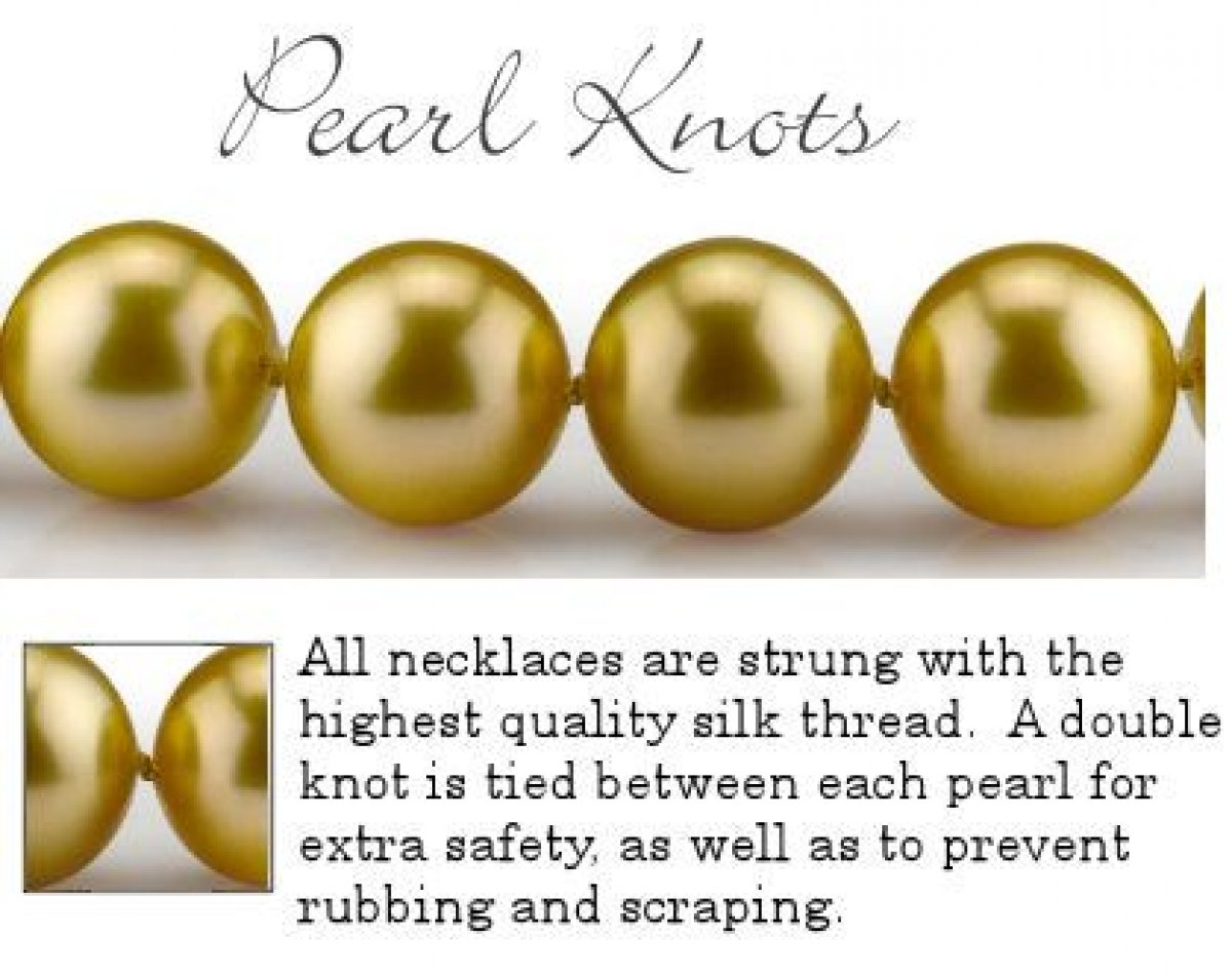 THE PEARL SOURCE 14K Gold 9-10mm Round Genuine Golden South Sea Cultured Pearl Necklace in 18'' Princess Length for Women by The Pearl Source (Image #8)