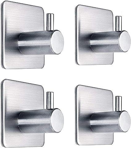 Adhesive Hooks Heavy Duty Wall Hooks Waterproof Stainless Steel Hooks For Hanging Coat Hat Towel Robe Hook Rack Wall Mount Bathroom And Bedroom 4 Packs Home Kitchen