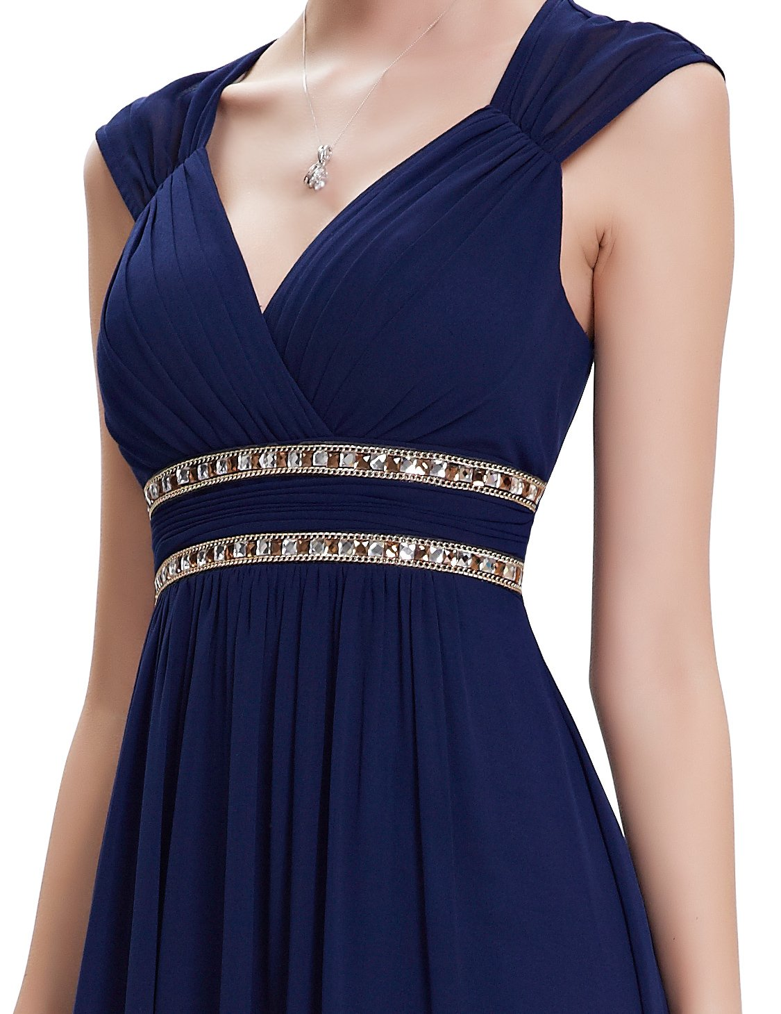 Ever-Pretty Womens Floor Length Beaded Grecian Style Military Ball Dress 6 US Navy Blue by Ever-Pretty (Image #5)