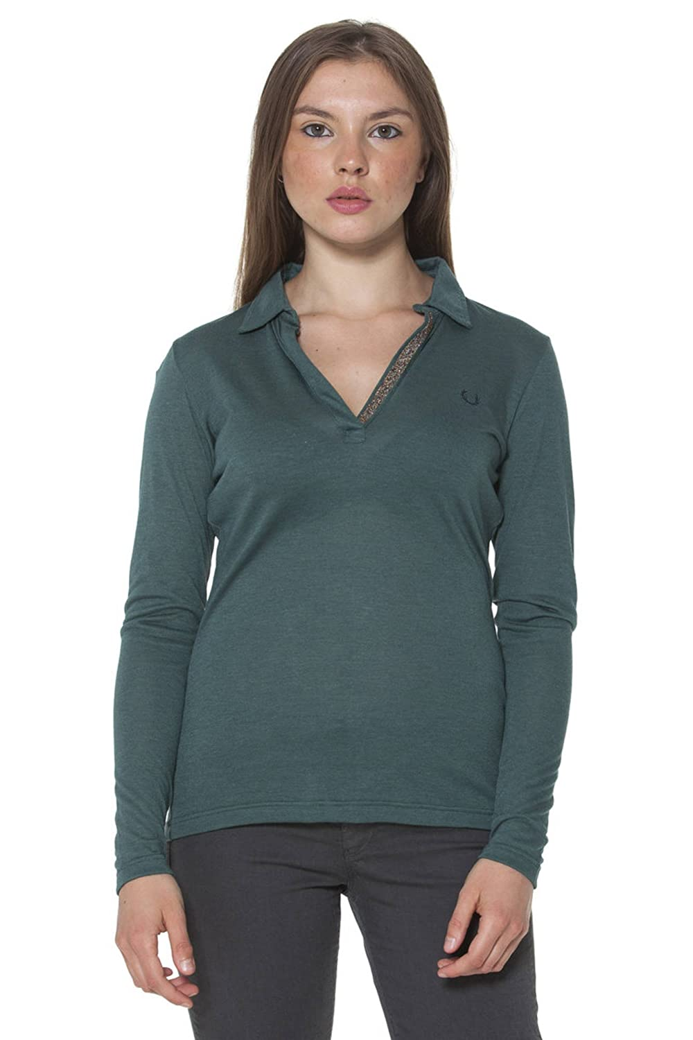 Fred Perry 31052080 Polo con Las Mangas largas Mujer Verde V0031 S ...