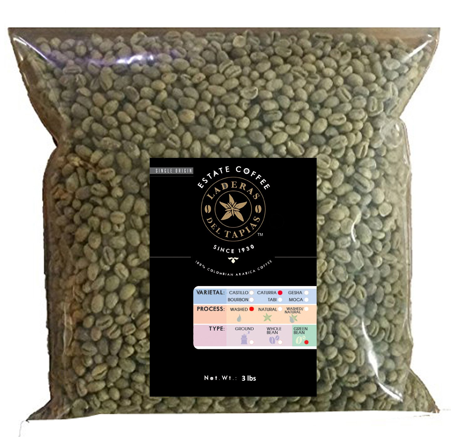 Premium Caturra Unroasted Beans 3 Lbs - Estate Laderas del Tapias Colombia Image