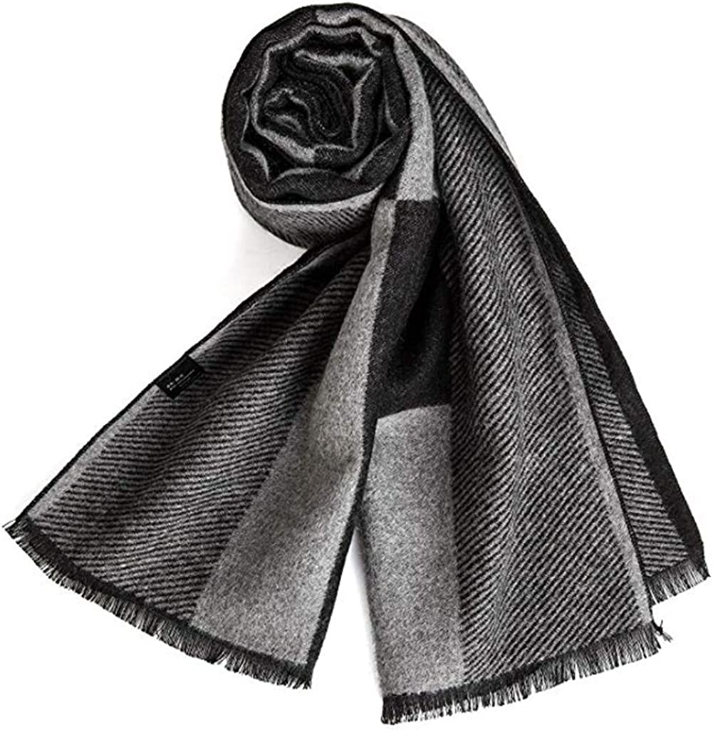 EONPOW Mens Classic and Elegant Plaid Scarves Warm Autumn and Winter Scarf