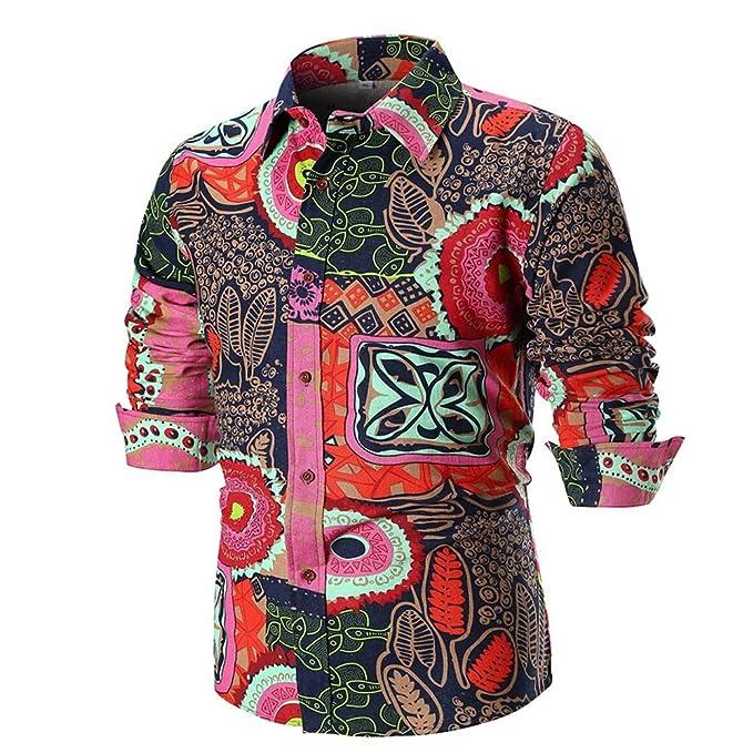 YanHoo Blusa Superior de la Camisa de Manga Larga Delgada Ocasional del Verano de los Hombres de la Personalidad Algodón Otoño e Invierno de 2018 Moda ...
