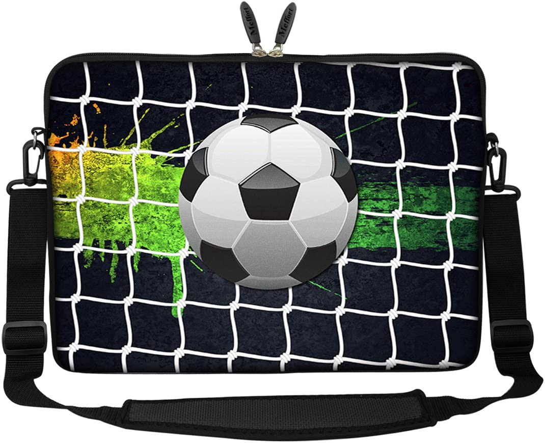 Meffort Inc 17 17.3 inch Neoprene Laptop Sleeve Bag Carrying Case with Hidden Handle and Adjustable Shoulder Strap - Soccer
