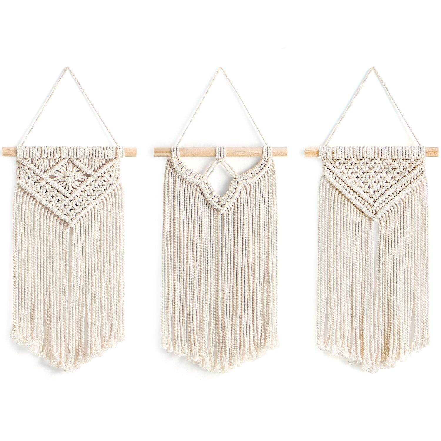 "Mkono Small Macrame Wall Hanging, 3 Pack Art Woven Wall Decor Boho Chic Home Decoration for Apartment Bedroom Living Room Gallery, 8"" Wx 14"" L"