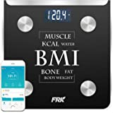 FRK Body Fat Scale Bluetooth, Scales Digital Weight and Body Fat for iOS/Android, Smart Scale Apple Health and Google Fit for Body Fat, BMI, Muscle, Water, Bone Mass, 400lb, Black