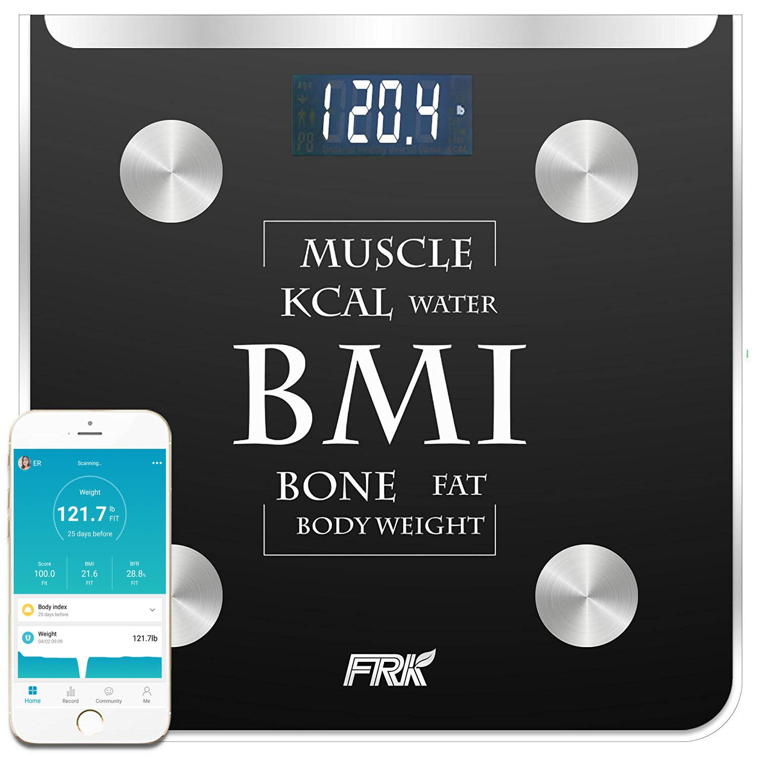 FRK Bluetooth Body Fat Scale, Wireless Smart Digital Weight Scale Syncs with Apple Health& Google Fit, Body Composition Scale Measures Body Fat, BMI, Muscle, Water, Bone Mass, 400lb