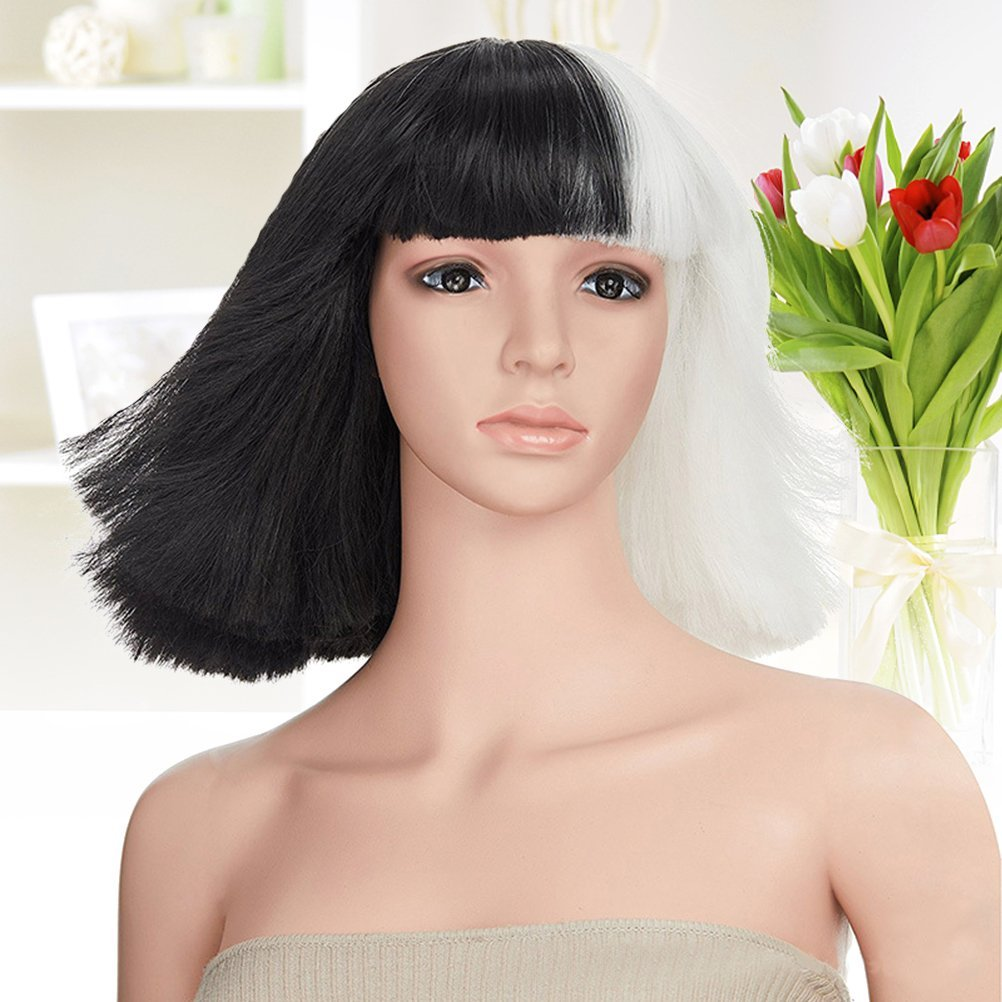Frcolor - Peluca corta para mujer, media blanca, media negra, disfraz de cosplay: Amazon.es: Belleza