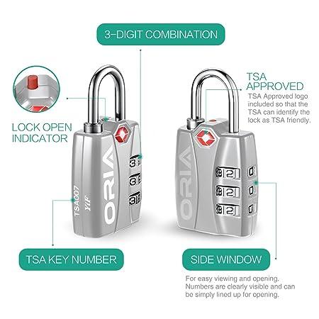 Oria - Candado de seguridad TSA (2 unidades, combinación de 3 dígitos, cerradura de código de número para gimnasio, maleta de equipaje, cerradura de ...
