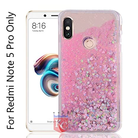 outlet store 92a3b 897b4 KC Liquid Unique Floating Hearts & Glitter Sparkle Transparent Soft Sides  Back Cover for Mi Redmi Note 5 Pro (Pink)