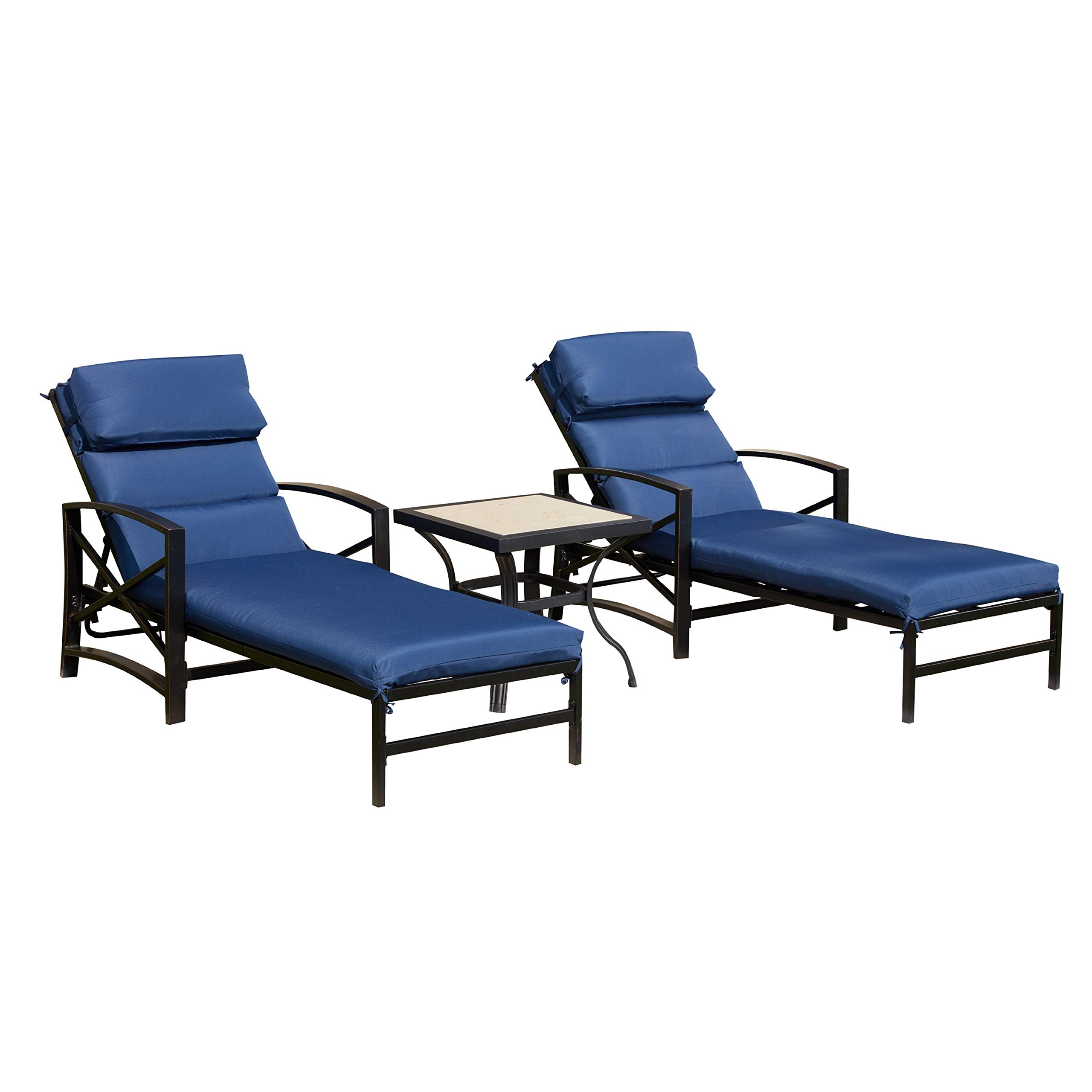 LOKATSE HOME Patio Chaise Lounge Set with Table Outdoor Metal Chairs Furniture, Blue by LOKATSE HOME