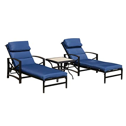 Marvelous Lokatse Home Patio Chaise Lounge Chair Set With Table Outdoor Metal Chairs Furniture Blue Gmtry Best Dining Table And Chair Ideas Images Gmtryco