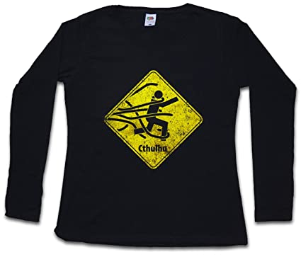 CAUTION CTHULHU SIGN DAMEN GIRLIE LANGARM T-SHIRT - Wars Horror Arkham H.P.  Lovecraft Miskatonic