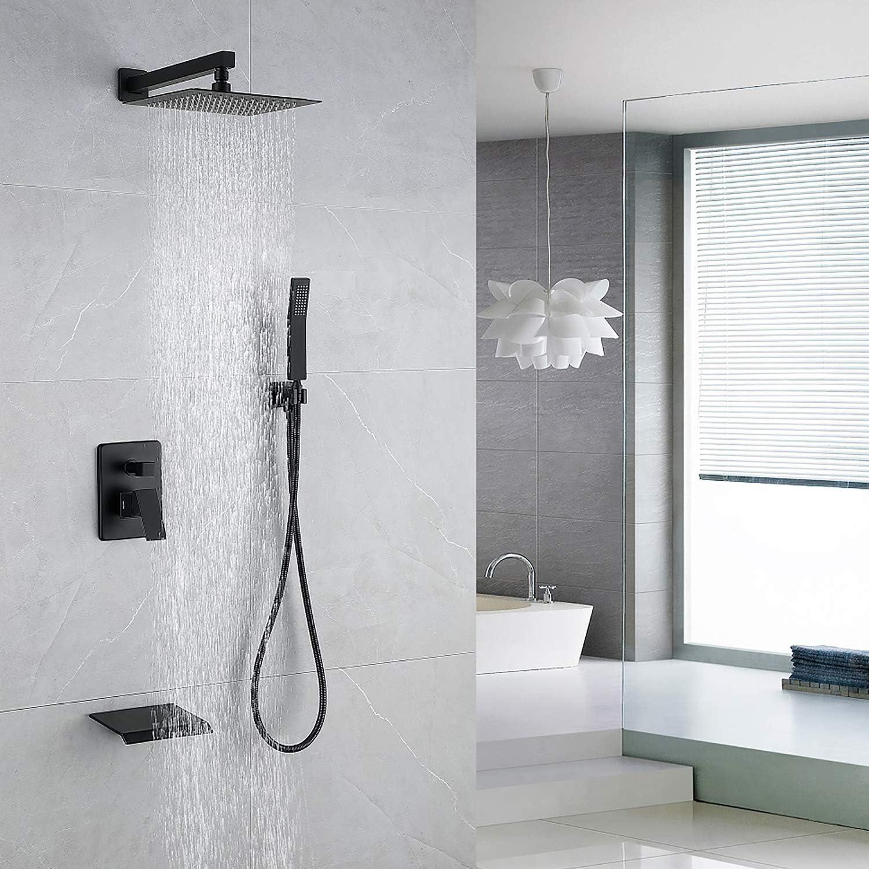 DMDMBATH Shower System Matte Black Shower Faucet Set 3-Function Bathroom Shower Fixtures with Waterfall Tub Spout Wall Mount 10 inch Rain Shower Head (Matte Black) - -