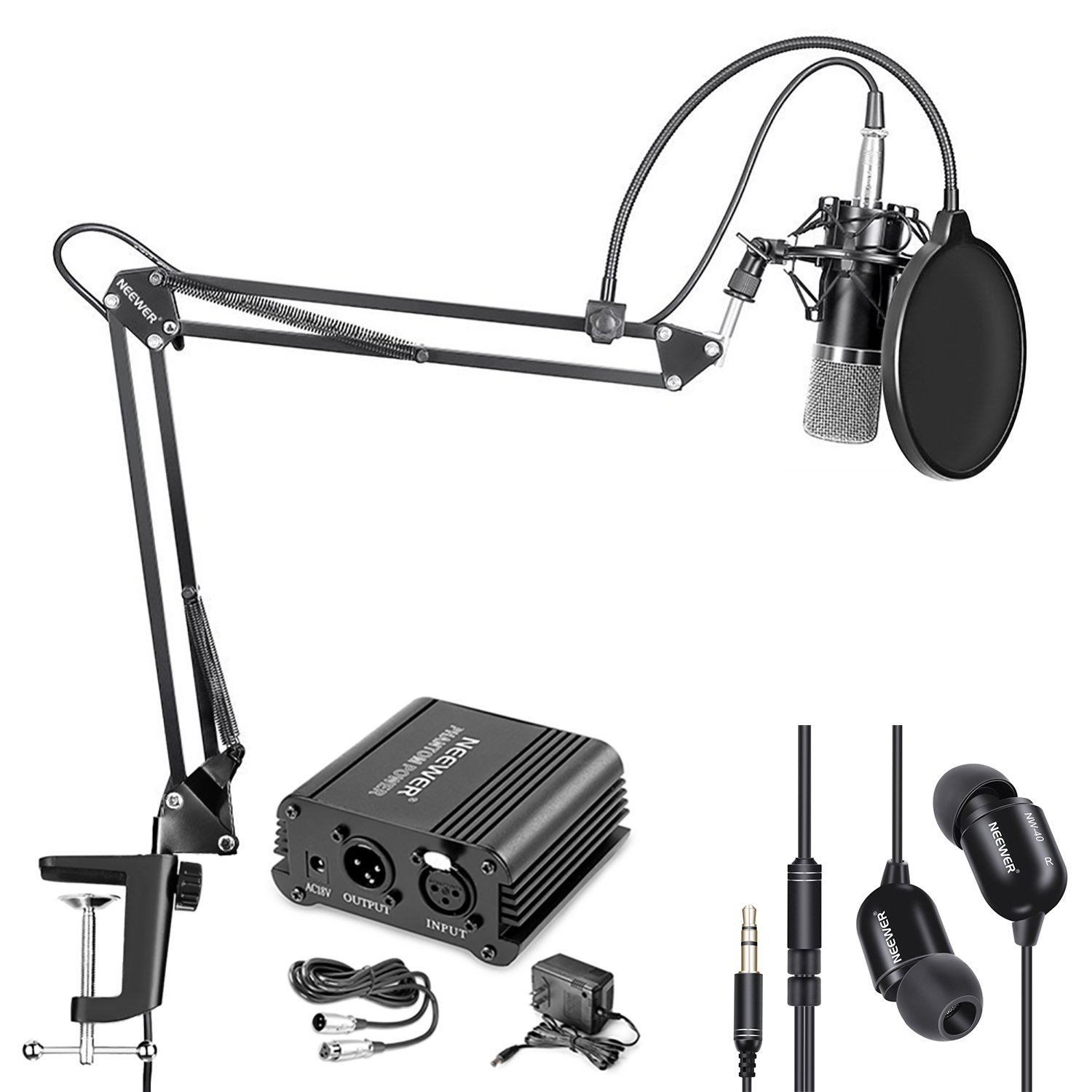 Neewer NW-700 Condenser Microphone and Monitor Earphone Kit Includes 48V Phantom Power Supply, NW-35 Boom Scissor Arm Stand, Shock Mount and Pop Filter for Home Studio Sound Recording(Black)
